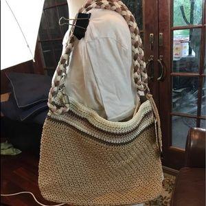 THE SAK Crochet Purse Bag Tote Handbag Tan Cream